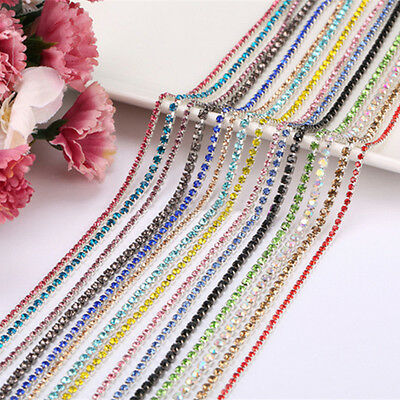 Clear Glass Close Crystal Diamante Rhinestone Sewing Chain Trim