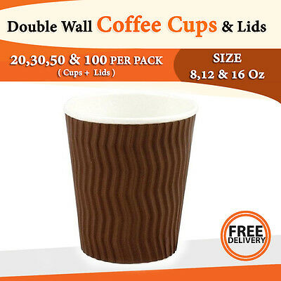 Double Wall Disposable Coffee Cups and Lids 50,100 Pack Wave Brown