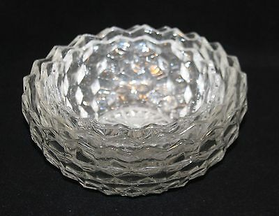 3 Fostoria American Clear Nested Round Flared Bowls 8-1/2 7-1/2 & 6-1/2 Inch