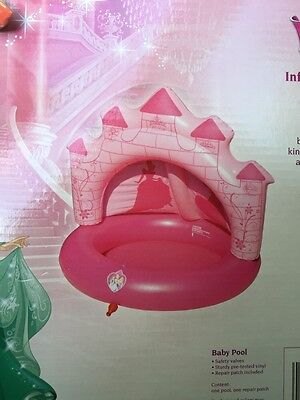 Disney Princess Pink Castle Baby Girls Pool w/ Sprinkler Back Shade Canopy NEW