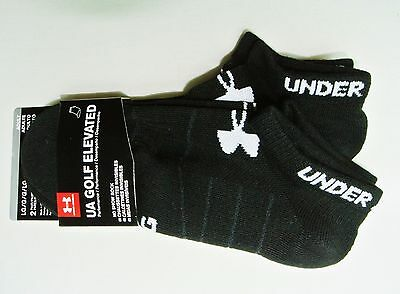 Under Armour Men's Golf No Show Socks 2 Pack L 9-12.5 Black Elevated Performance