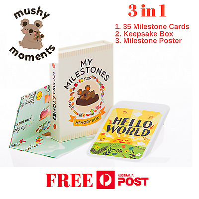 Baby Milestone Cards, Baby Gift Photo Cards - 3in1 Keepsake Box & Poster