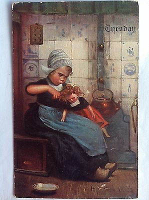 Tuesday~Dutch girl~dolly~1910~clogs~wooden shoes~Delft tiles~copper tea kettle