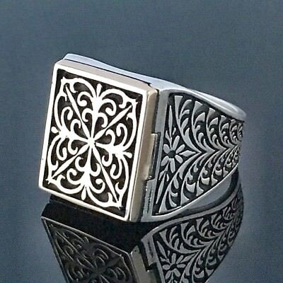 f61ef2be4995 Silver Mens Ring 925 Sterling Silver Poison box ring unique handmade jewelry