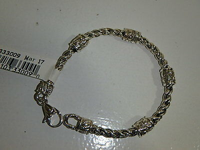 Jai By John Hardy Sterling Wheat Chain 4Mm Croco Station Bracelet New 6 3/4 Inch