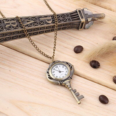New Fashion Antique Retro Alloy Key Shaped Pendant Pocket Watch Key Chain UK