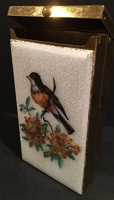 Vintage Brass Cigarette Case With Robin Bird And Flowers