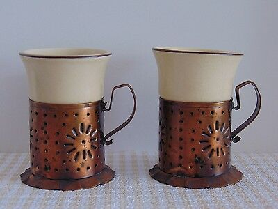 PFALTZGRAFF USA VILLAGE Set of 2 Mug Inserts with Copper Holders YELLOW / BROWN