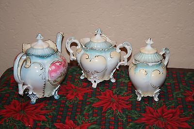 Beautiful Antique RS Prussia 3 Piece Tea Set Made in Germany