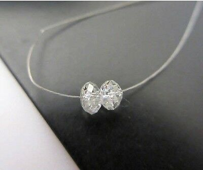 2 Pieces 3.2mm Clear White Diamond Faceted Rondelle Beads - DDS481/1