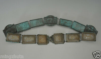 Rare Ancient Chinese Bronze Inlay Jade Dragon Face Pattern Hook Belt