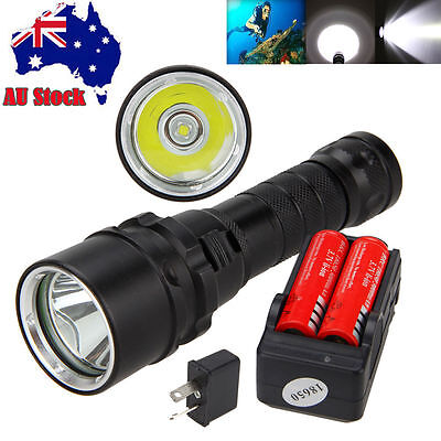 Waterproof 5000Lm Scuba Diving XML L2 LED Flashlight Torch Light 2*18650+Charger