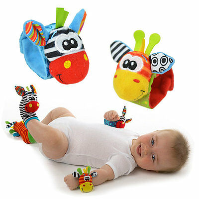 New Baby Soft Handbells Hand Wrist Strap Rattles Animal Socks Baby Toys UK