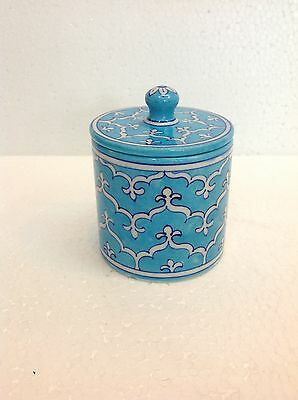 Antique Blue Pottery Mini Cotton Candy Ginger Jar Home Office decor