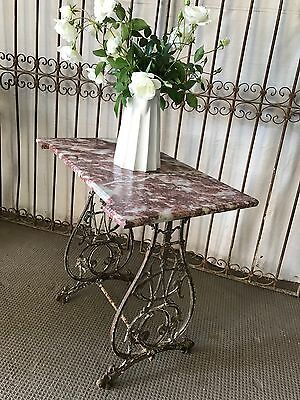 Marble Top French Antique Garden Table on Castor Wheels