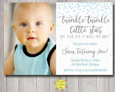 Printable Boy Birthday Photo Invitation Twinkle Little Star Silver Blue Any Age