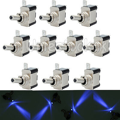 10PCS 12V 20A LED Light Toggle Switch SPST Rocker Switches ON/OFF Car Truck Blue