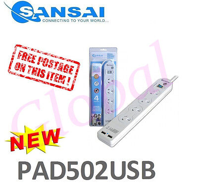Sansai 4-Way Power Board w/2.1A USB Charger Outlet Surge Protected 10A PAD502USB