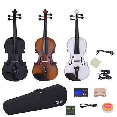 Hot Full Size 4/4 Electric Violin+Bow Case Tuner Rosin Extra Strings Bridge Gift