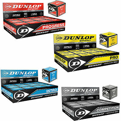 DUNLOP Squash Ball Squashball Blue Red Yellow Grey PER INTRO NEW