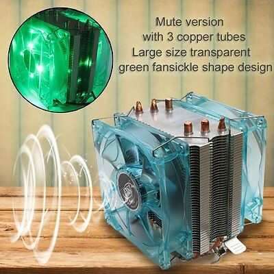 Professional Dual Fan CPU Cooler Heat Sink Radiator with LED Light Mute UK