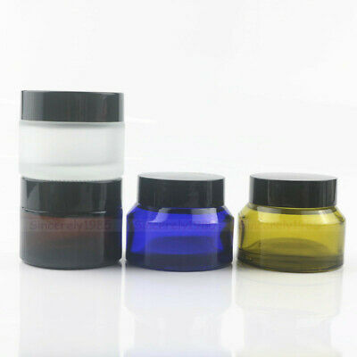 20g 50g 30g Amber Glass Bottles Alloy lid For Cosmetics Cream Spices Travel Jars