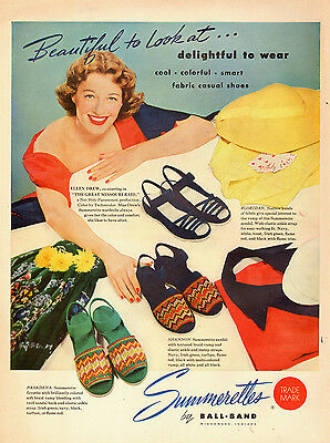 1951 vintage AD  SUMMERETTES Casual Women's Shoes  Ellen Drew Movie Star  031415