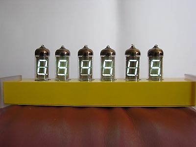 "Monjibox Nixie ""Yellow Shadow"" Alarm Clock IV11 VFD tubes aluminum case"