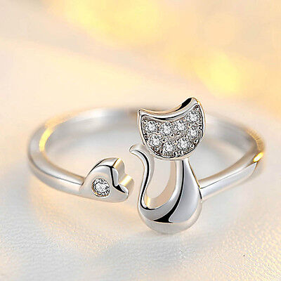 Charm Silver Plated Rings Cute Animal Little Cat Ring Women Fashion Jewelry Gift