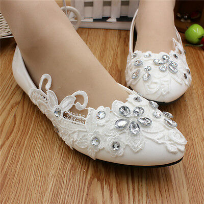 Handmade Women Pearl White Lace Princess Bridal Wedding Shoes High Heels #27150