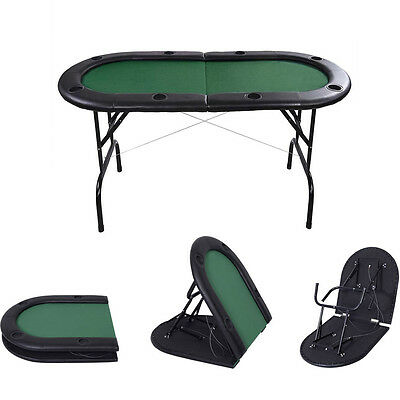 Foldable 8 Player Poker Table Casino Texas Holdem Card Game Table w/ Cup Holder