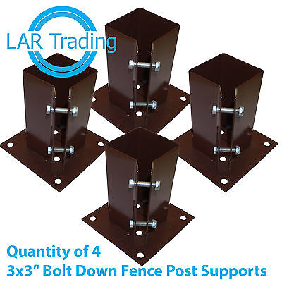 """Qty of 4 3""""x3"""" / 75x75mm Bolt Down Fence Post Support Holder Shoe Like Met Post"""