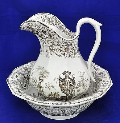 Alcock Pompeii 19th Century Brown Transfer Staffordshire Pitcher and Basin 1840