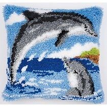 "Latch Hook Complete Cushion Cover Kit""Jumping Dolphins""43x43cm"
