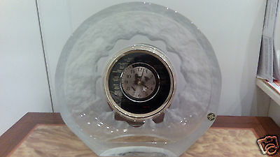 Large Original Japan Hoya Crystal World Clock Heavy Lead Crystal Over 24%