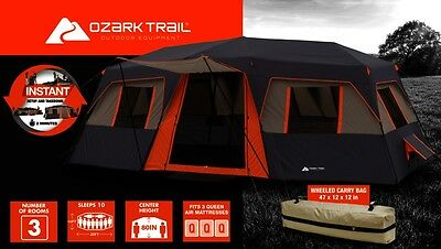 Ozark Trail 10-Person Camping Tent Orange Outdoor Family Instant Cabin Shelter