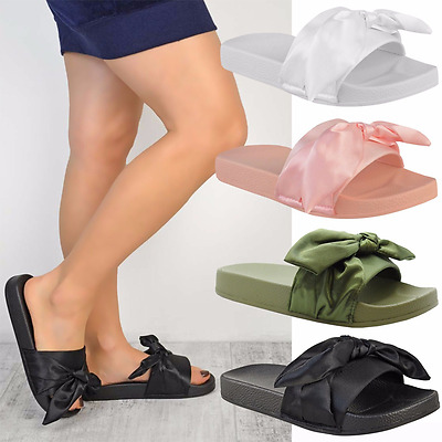 UK Womens Ladies Comfy Plain Rubber Bow Sliders Flats Shoes Slides Slippers Size