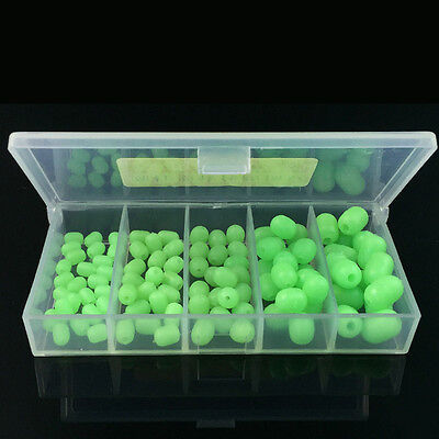 100pcs Oval Soft Fishing Beads Sea Luminous Fishing Lures Floating Float Tackles