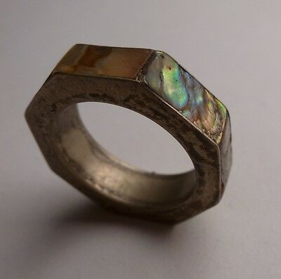 Antique Mexican Alpaca Silver Octagon Thick Inlaid Abalone Eternity Band
