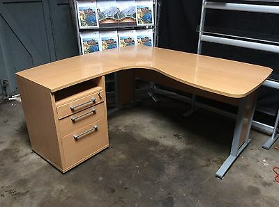 Used office corner desk with pedestal drawers