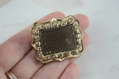 Antique Victorian Mourning Brooch Rectangle Dark Brown Weaved Hair Gold Plated