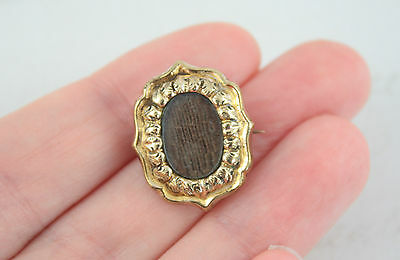 Antique Victorian Oval Mourning Brooch Dark Brown Weaved Hair Gold Plated Frame