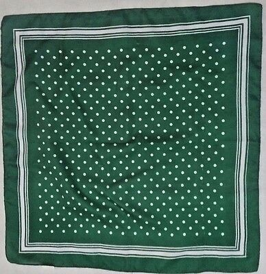 "Vintage 1970's Green Polka Dot Polyester Small 28"" Square Scarf Kitsch Cute Geek"