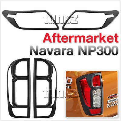 Front Tail Rear Light Lamp Cover Black For Nissan Navara NP300 D23 2015-2019 AT