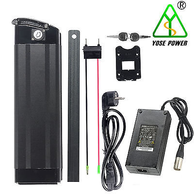 36v17ah Lithium Ion Battery E-Bike black fish with cellphone charging USB