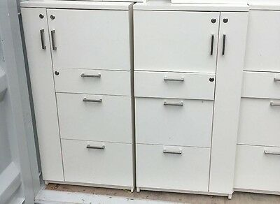 Schiavello Personal Storage & Filing Cabinet (White, Dark & Light Grey) RRP$800+