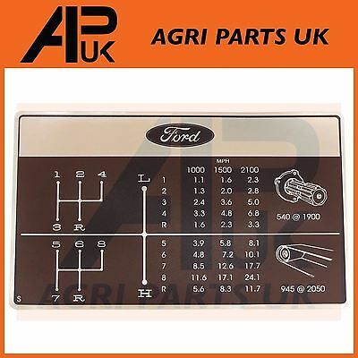 Ford 2000 2600 3000 3600 Tractor Gear Shift Pattern Decal 8 Speed Dash Sticker
