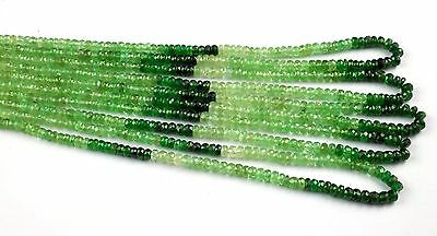 "1 Strand Multi Tsavorite Gemstone Faceted Rondelle Beads 3-4mm 17"" Long Strand"