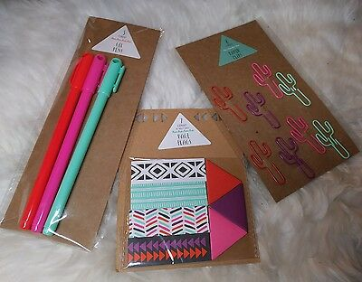 Target dollar spot planner cactus cacti paper clip paperclips page flag gel pens