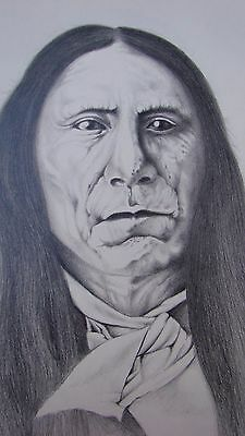 Red Cloud Portret,Original Graphite Hand Drawing of Native American.